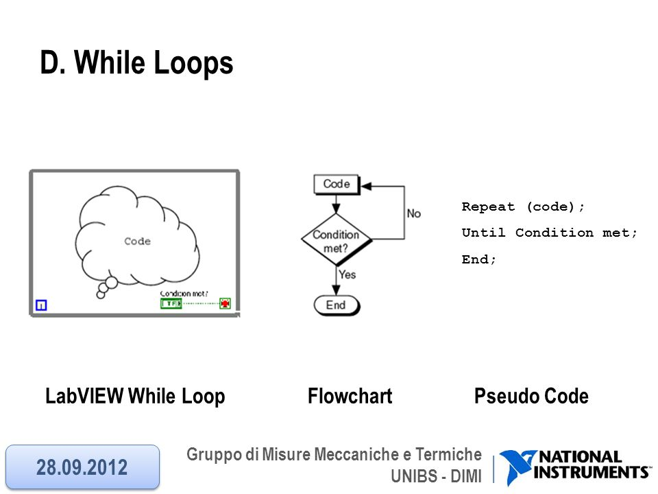 D. While Loops LabVIEW While Loop Flowchart Pseudo Code 28.09.2012