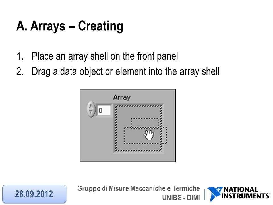 A. Arrays – Creating Place an array shell on the front panel