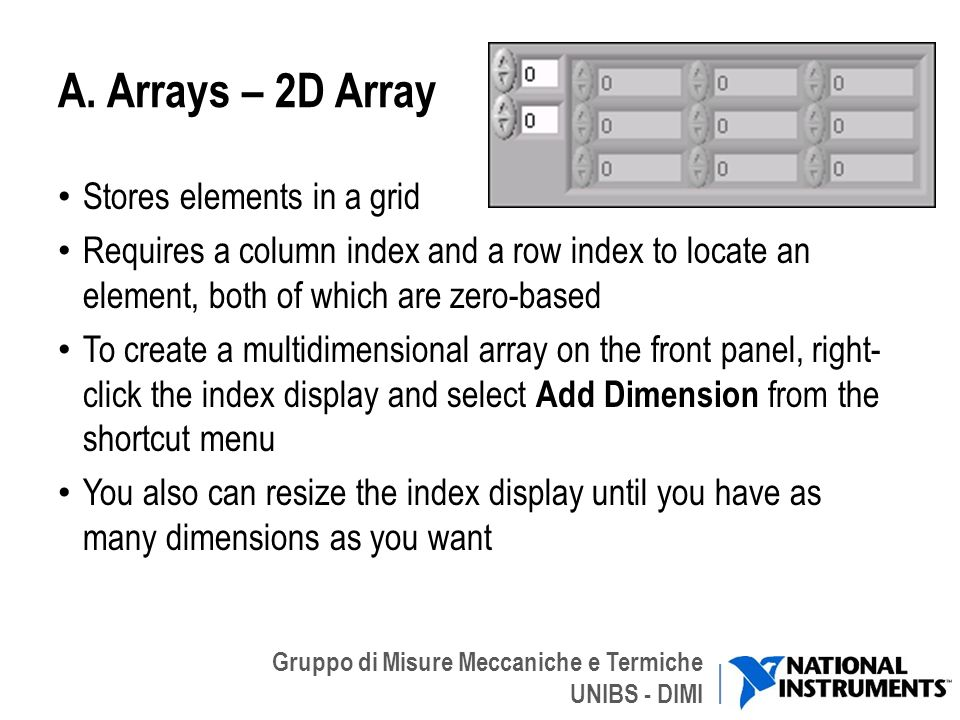 A. Arrays – 2D Array Stores elements in a grid