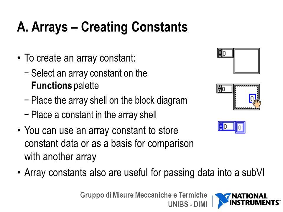 A. Arrays – Creating Constants