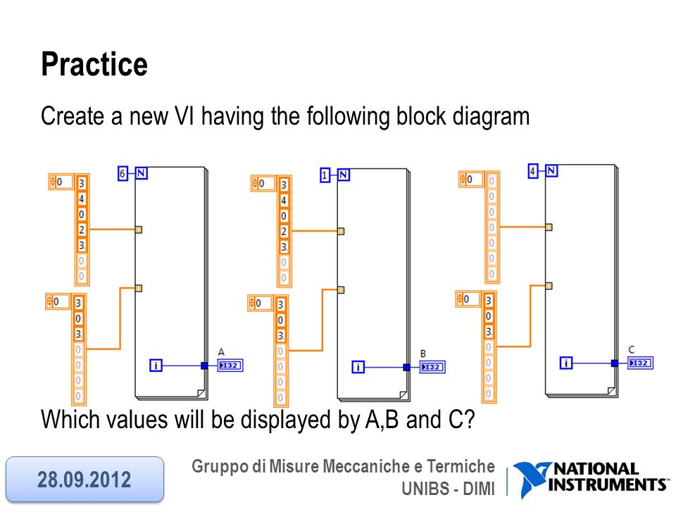 Practice Create a new VI having the following block diagram Which values will be displayed by A,B and C