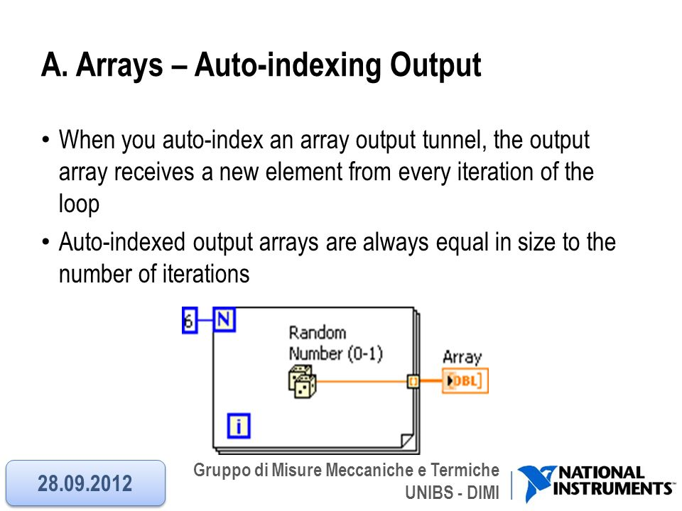 A. Arrays – Auto-indexing Output