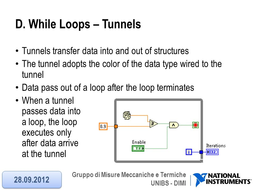 D. While Loops – Tunnels Tunnels transfer data into and out of structures. The tunnel adopts the color of the data type wired to the tunnel.