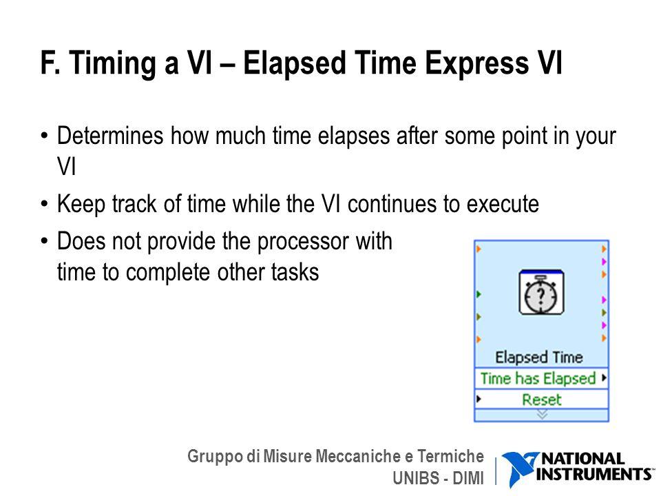 F. Timing a VI – Elapsed Time Express VI