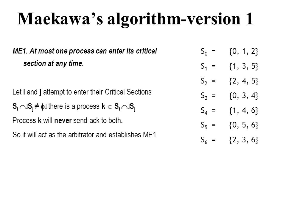Maekawa's algorithm-version 1