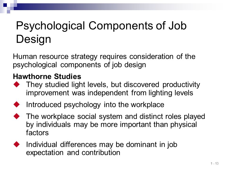 Psychological Components of Job Design