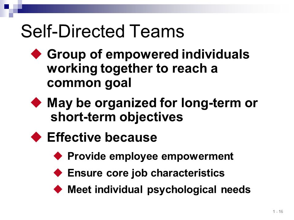 Self-Directed Teams Group of empowered individuals working together to reach a common goal.