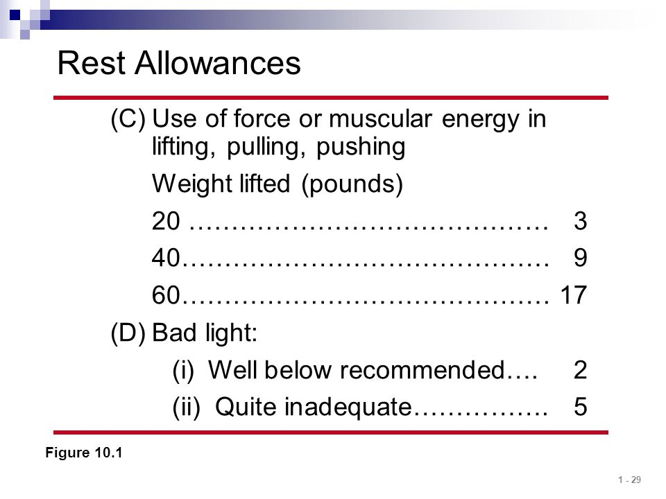 Rest Allowances Use of force or muscular energy in lifting, pulling, pushing. Weight lifted (pounds)