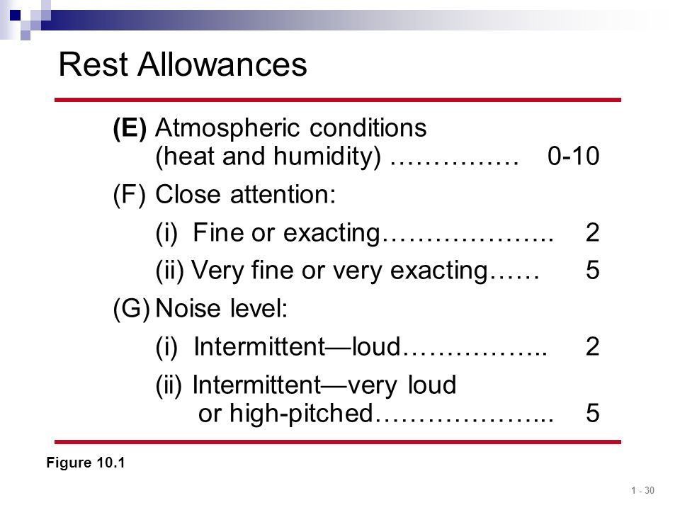 Rest Allowances (E) Atmospheric conditions (heat and humidity) …………… 0-10. Close attention: (i) Fine or exacting……………….. 2.
