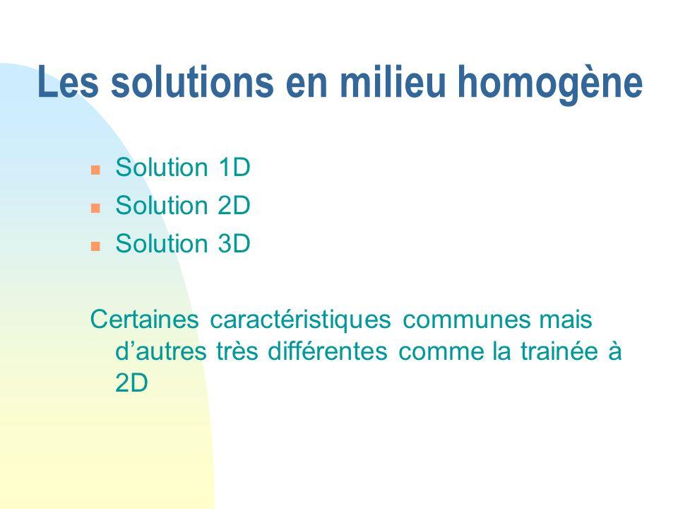 Les solutions en milieu homogène