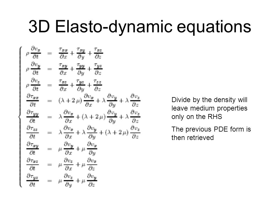 3D Elasto-dynamic equations