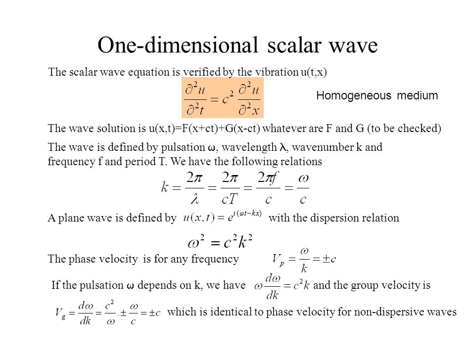One-dimensional scalar wave