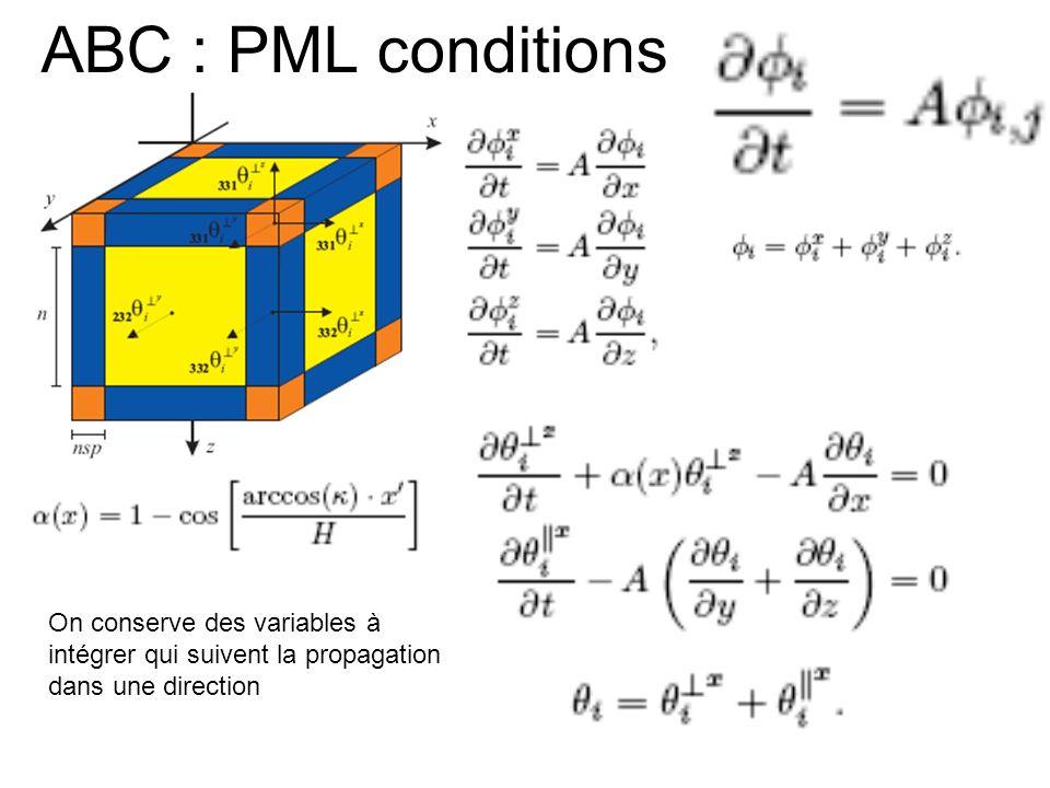 ABC : PML conditions On conserve des variables à intégrer qui suivent la propagation dans une direction.