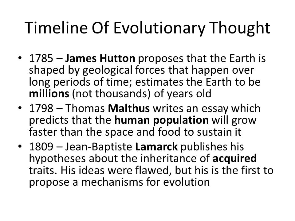 theory of evolution bio ppt  timeline of evolutionary thought