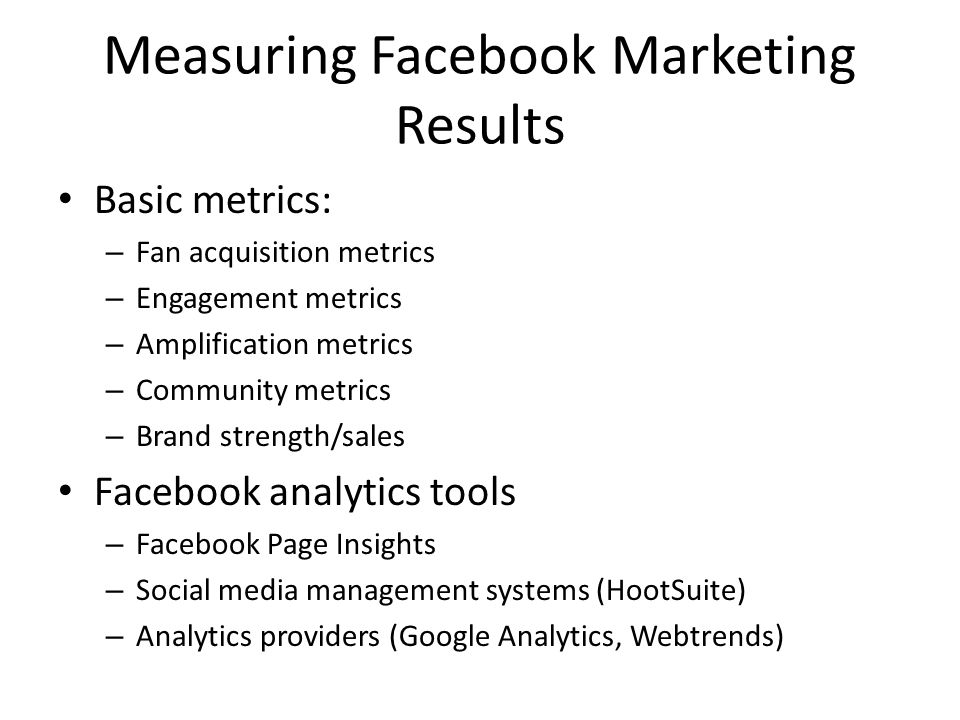 Measuring Facebook Marketing Results