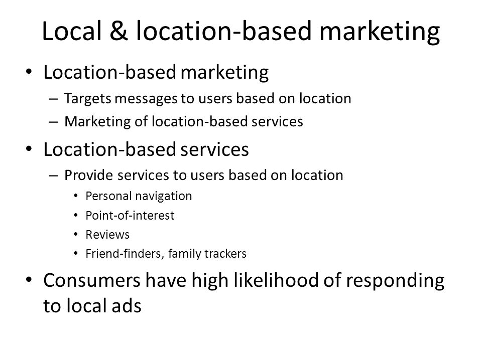 Local & location-based marketing
