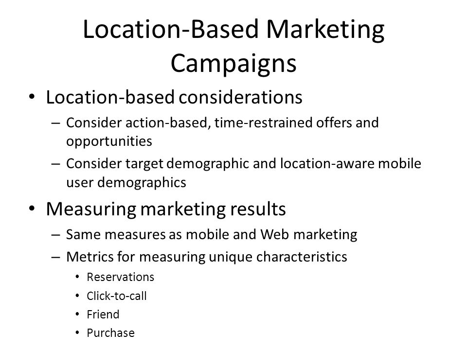 Location-Based Marketing Campaigns