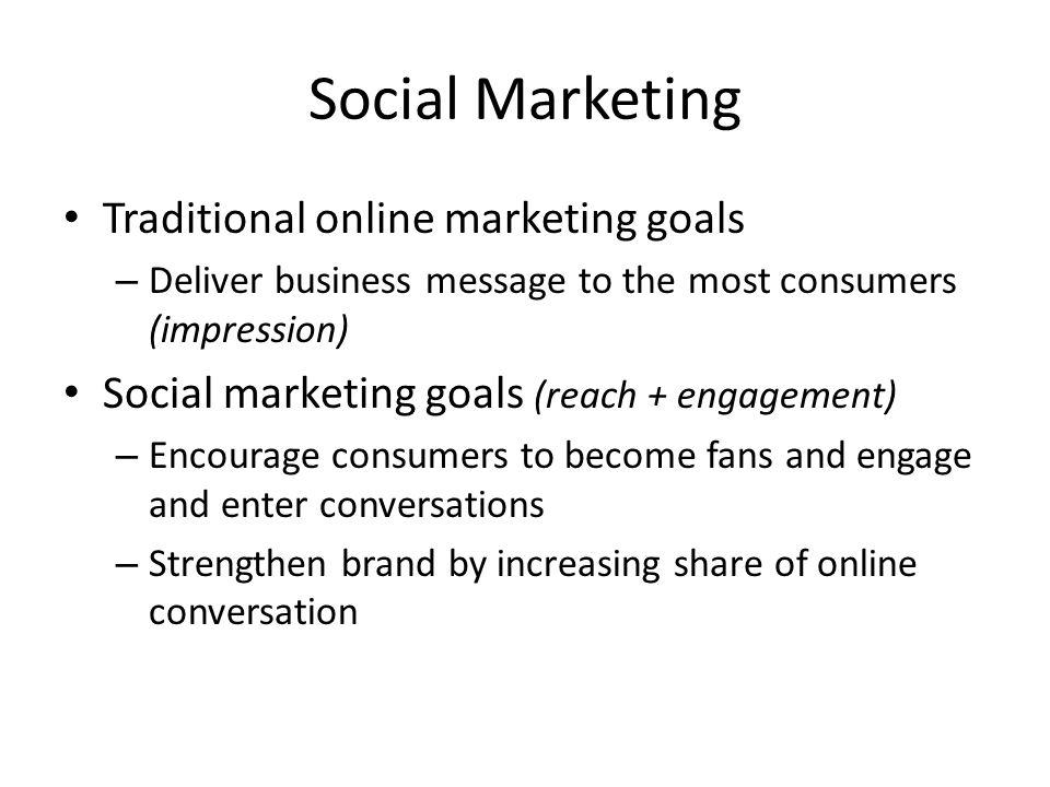 Social Marketing Traditional online marketing goals