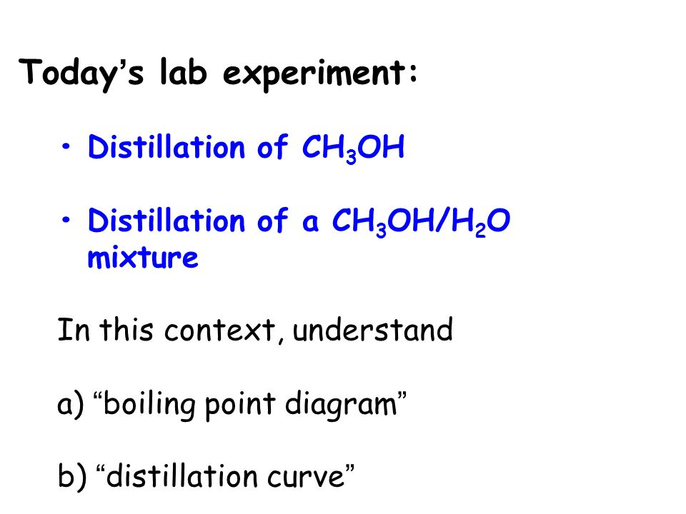 boiling point experiment The purposes of this experiment are (1) to learn the technique used for semi-microscale boiling point determinations and (2) to use molecular modeling to calculate heat of formation and topological parameters of several molecules, and to see which type of data best correlates with experimental boiling points.