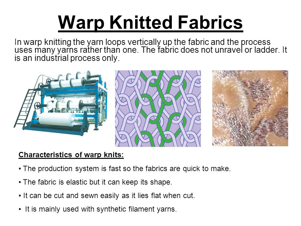 Fabric Knitting Process : Knitted fabrics are made from interlocking loops of yarn