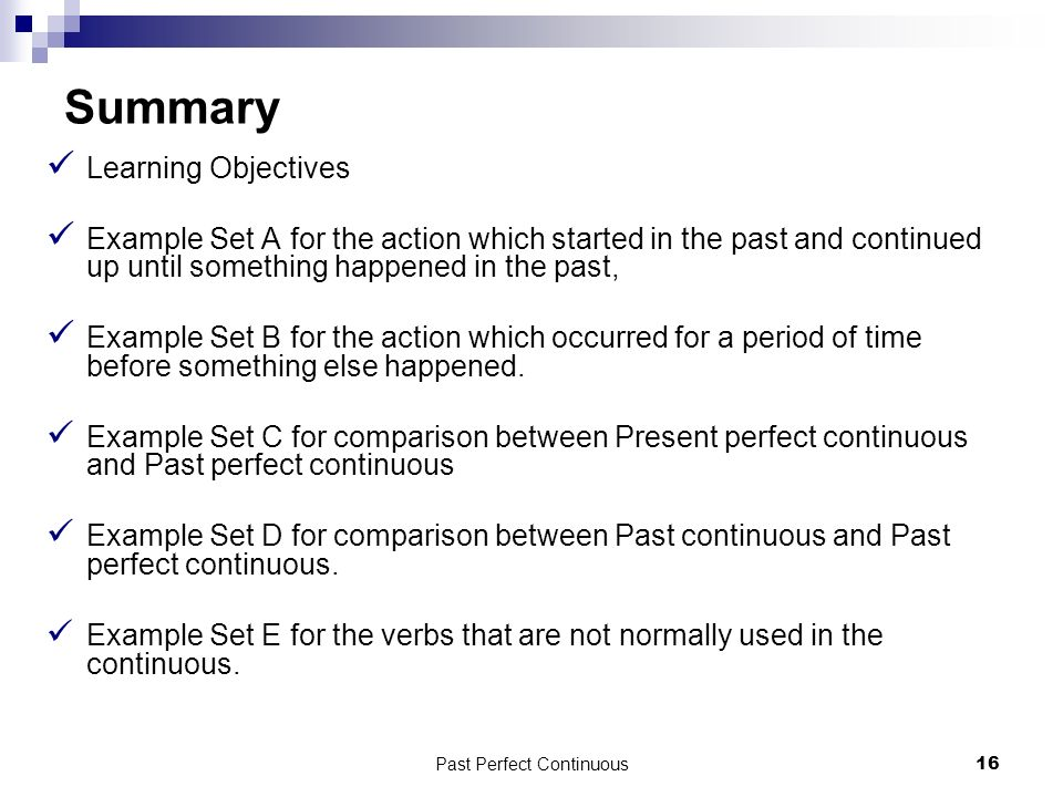 past perfect continuous examples pdf