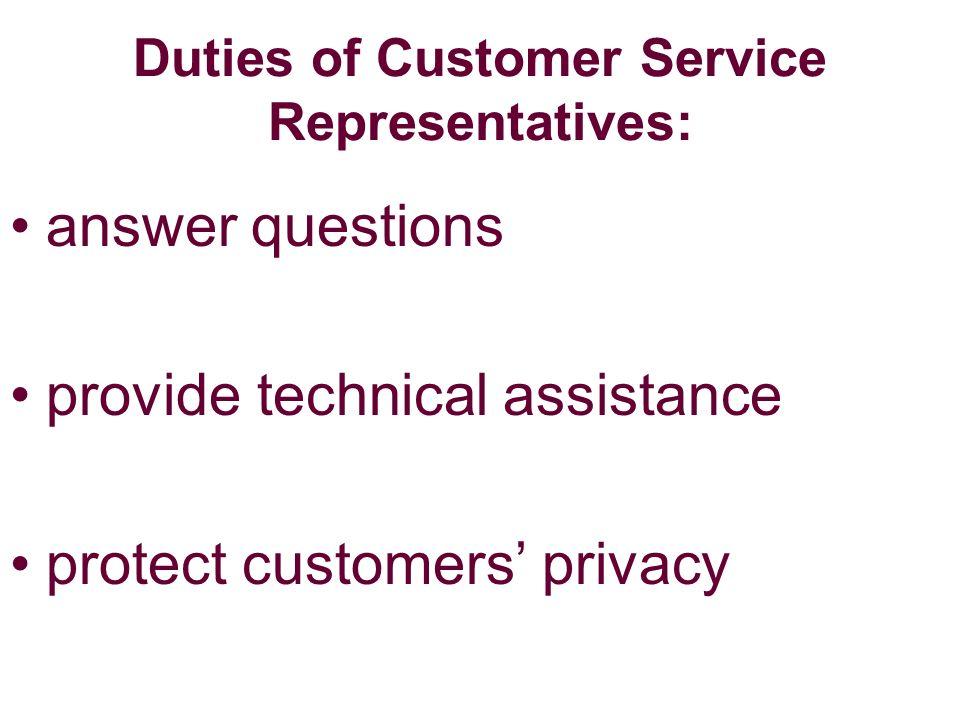 responsibilities of customer service representative