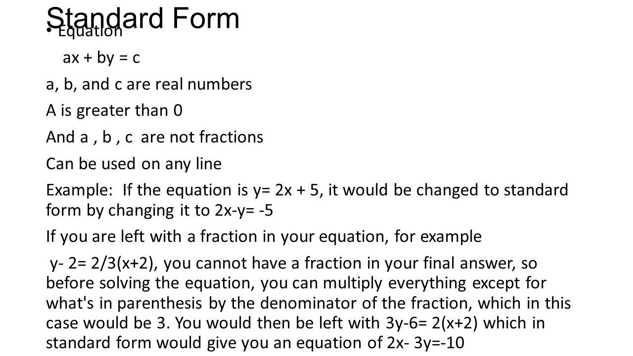Equations of a line nina gurganus ppt video online download 9 standard form falaconquin