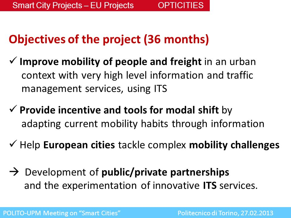 Objectives of the project (36 months)