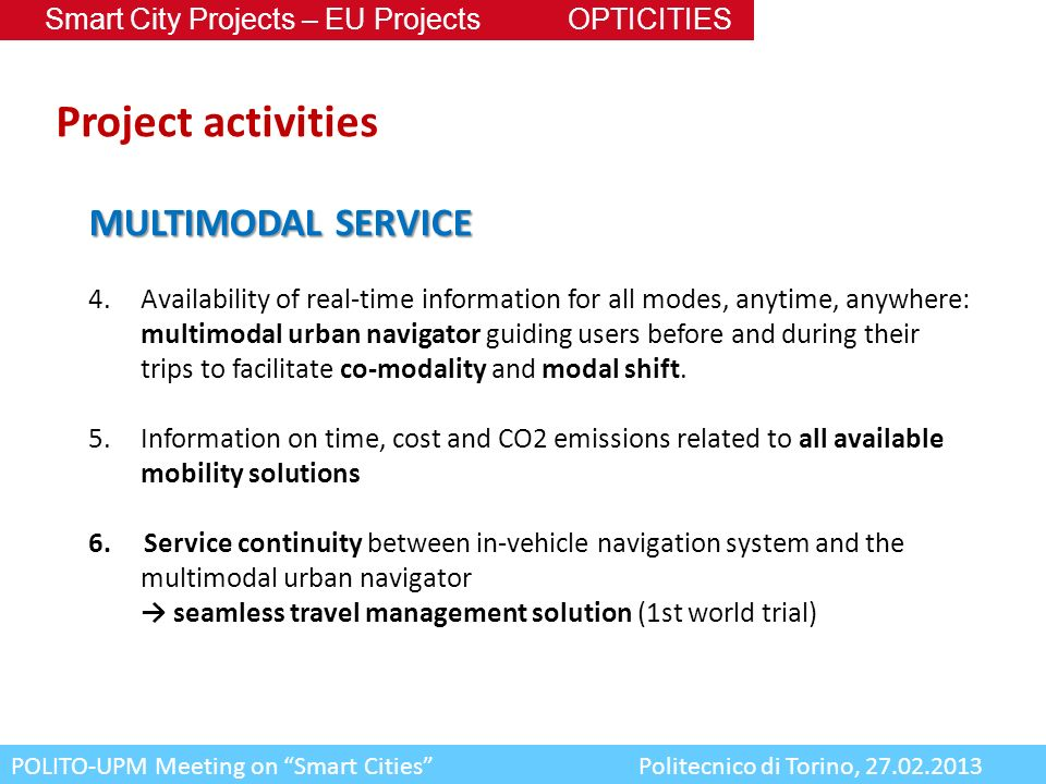 Project activities MULTIMODAL SERVICE