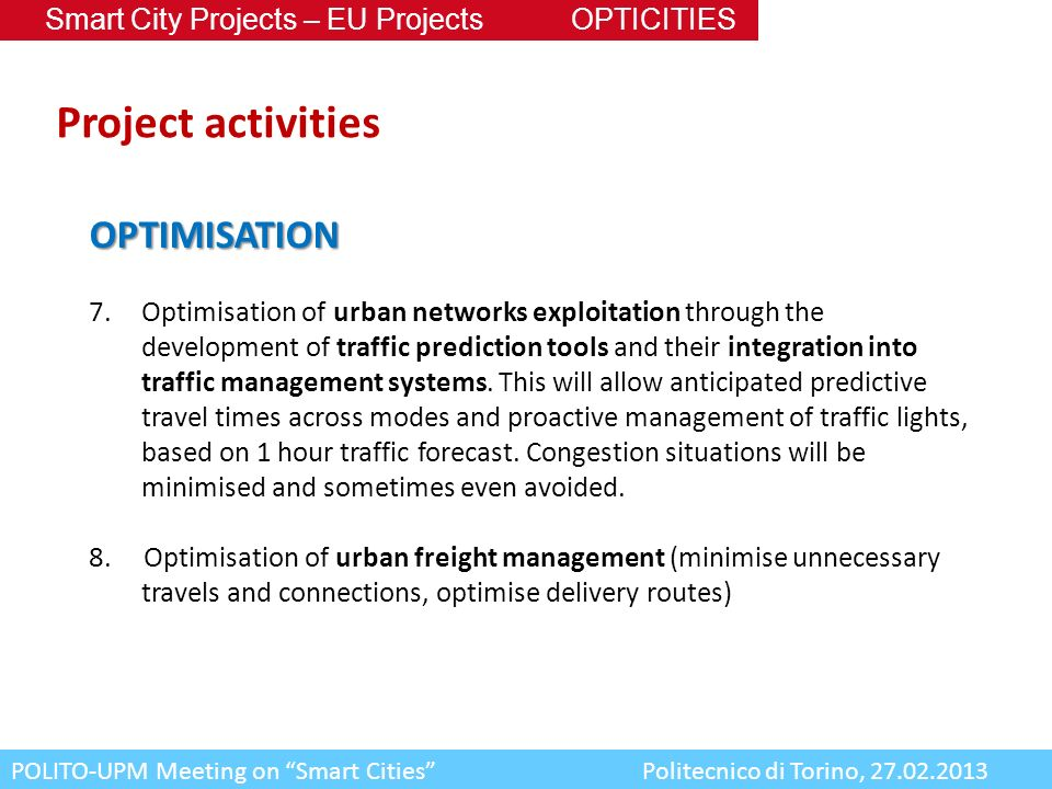 Project activities OPTIMISATION