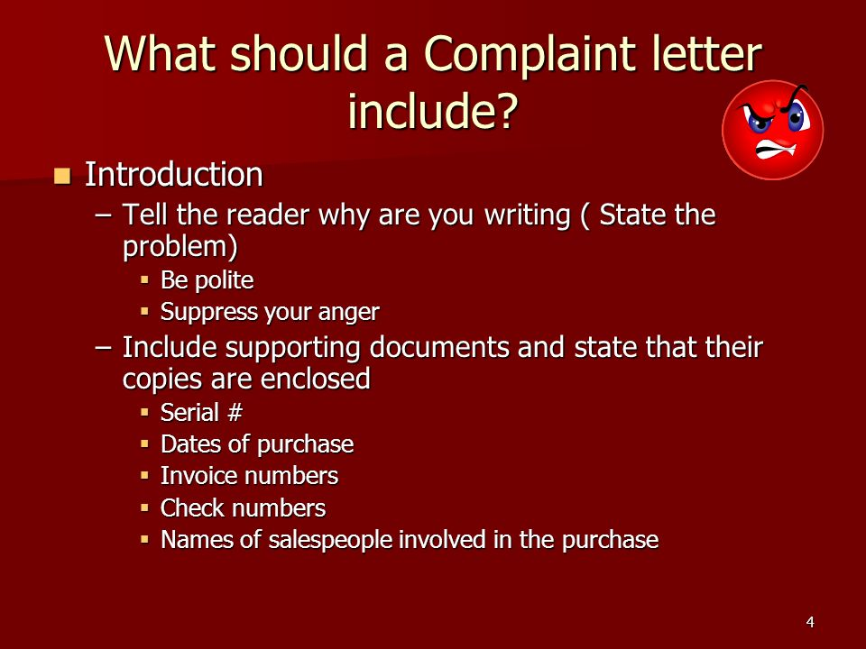 Complaint and adjustment letters ppt video online download what should a complaint letter include ccuart Gallery