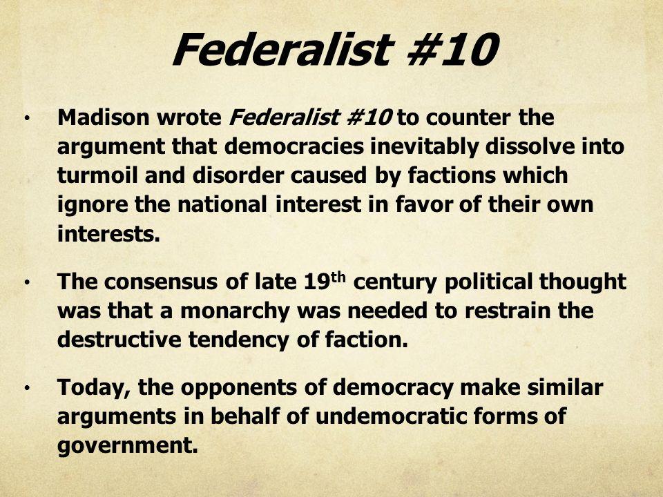 federalist number 10 summary
