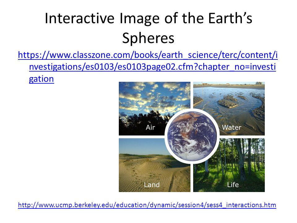 Interactive Image of the Earth's Spheres