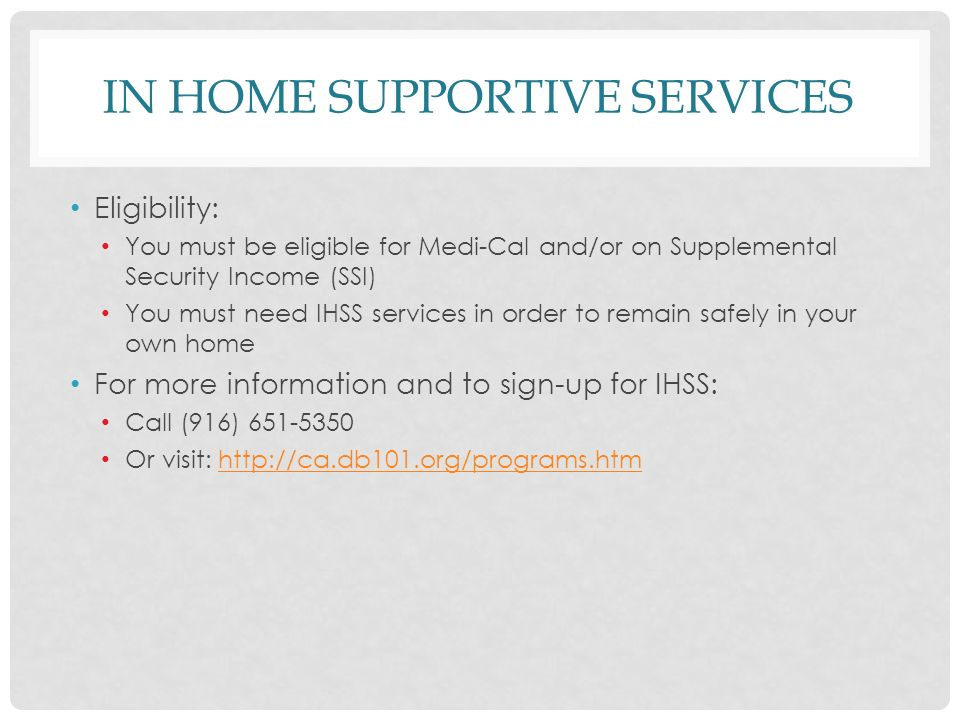 Services Provider: In Home Supportive Services Provider