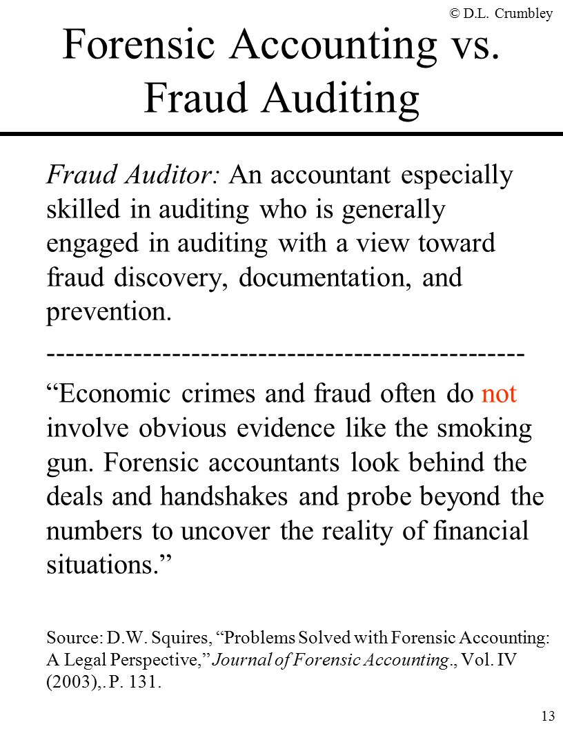 The fraud side of forensic accounting d larry crumbley cpa cr 13 forensic accounting solutioingenieria Image collections