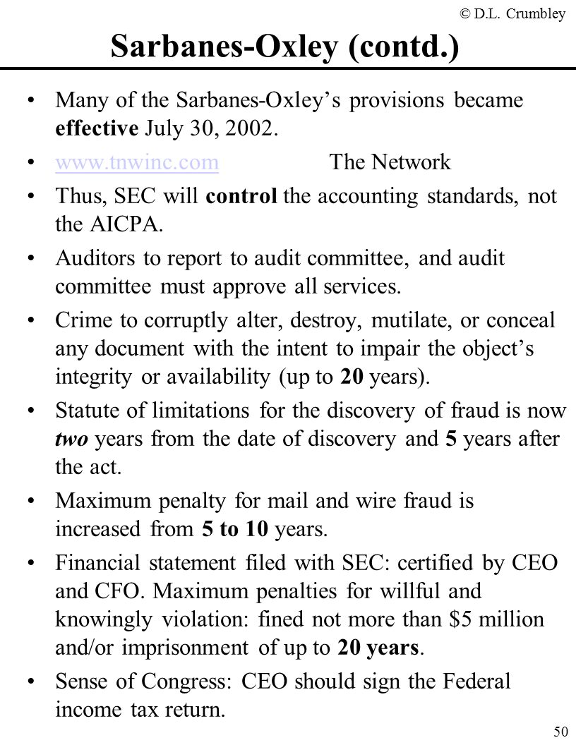 parmalat violations of sarbanes oxley act Attachment to attorney general august 1, 2002 memorandum on the sarbanes-oxley act of 2002 enacted in the sarbanes-oxley act of 2002 (hr 3763) concerning corporate fraud and accountability section criminal penalties for violations of the employee retirement income security act of.
