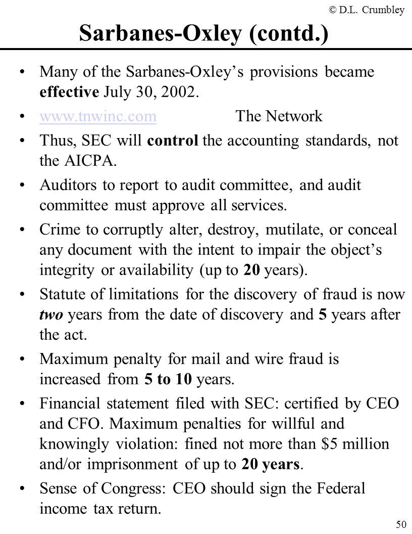 sarbanes oxley resume