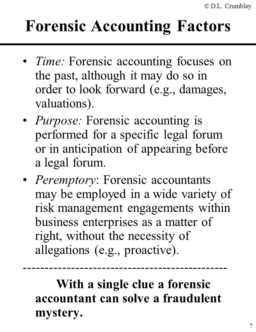 The fraud side of forensic accounting d larry crumbley cpa cr forensic accounting factors solutioingenieria Image collections