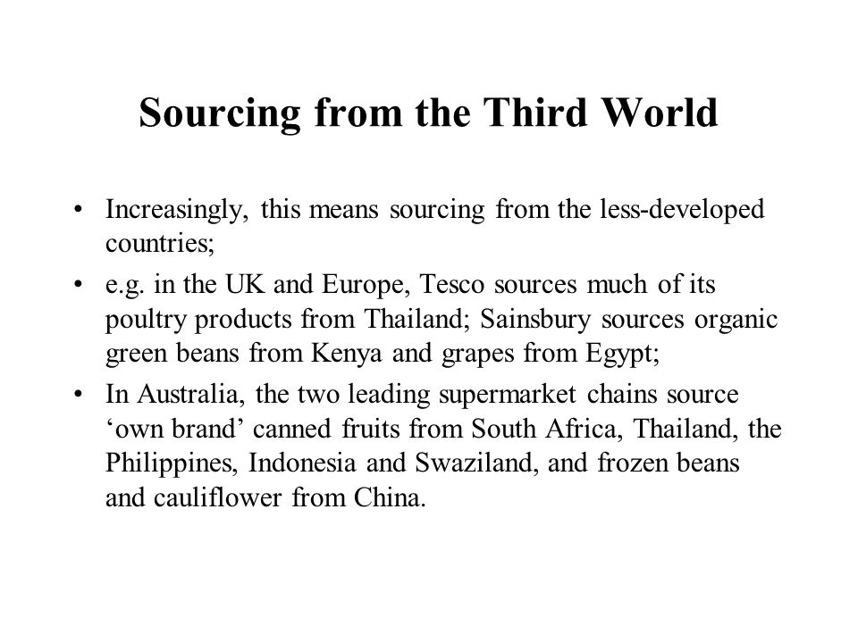 Sourcing from the Third World