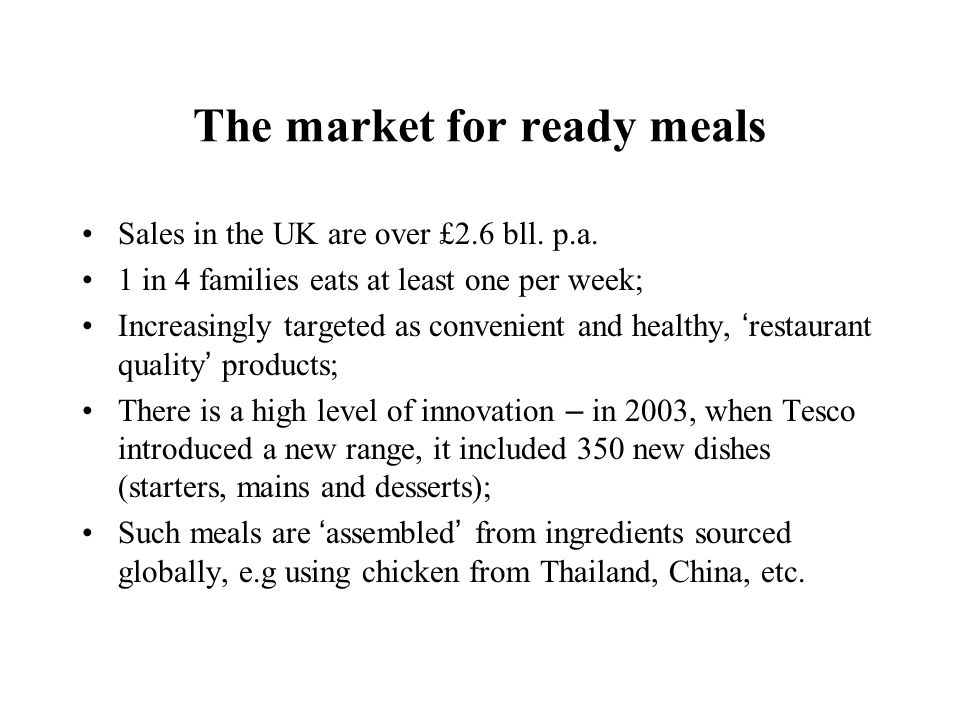 The market for ready meals