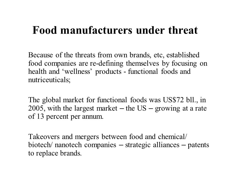 Food manufacturers under threat