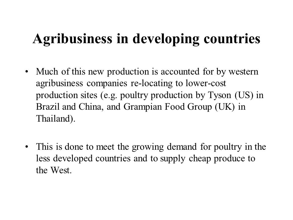 Agribusiness in developing countries