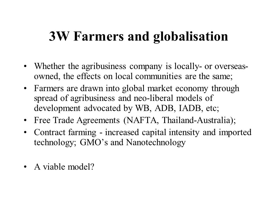 3W Farmers and globalisation