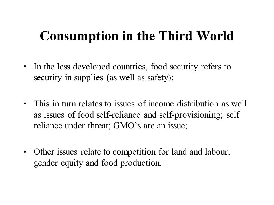 Consumption in the Third World