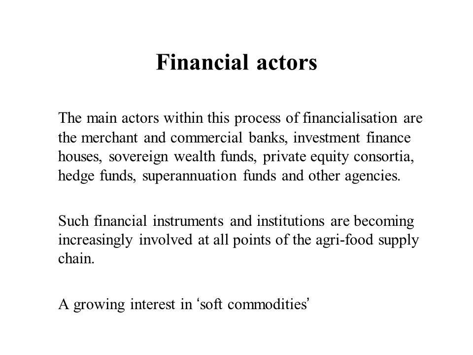 Financial actors