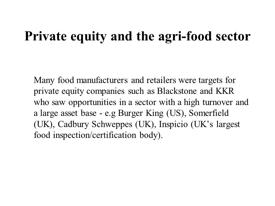 Private equity and the agri-food sector