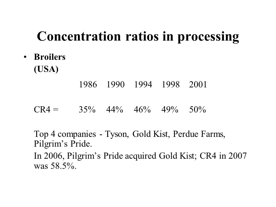 Concentration ratios in processing
