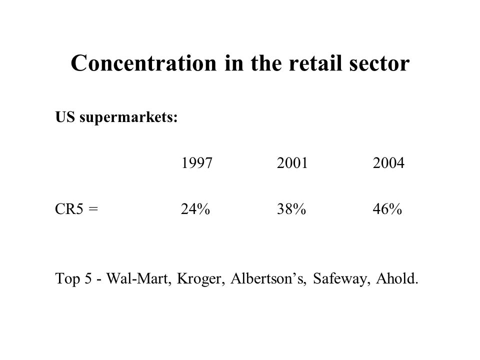 Concentration in the retail sector