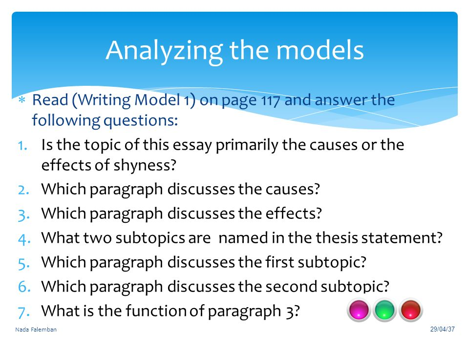 chapter cause effect essays ppt video online  analyzing the models writing model 1 on page 117 and answer the following