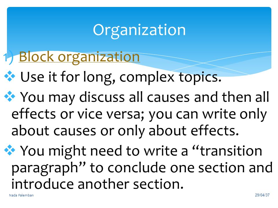 chapter cause effect essays ppt video online organization block organization use it for long complex topics